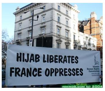 Demonstration against the hijab ban in French schools, London, 2004