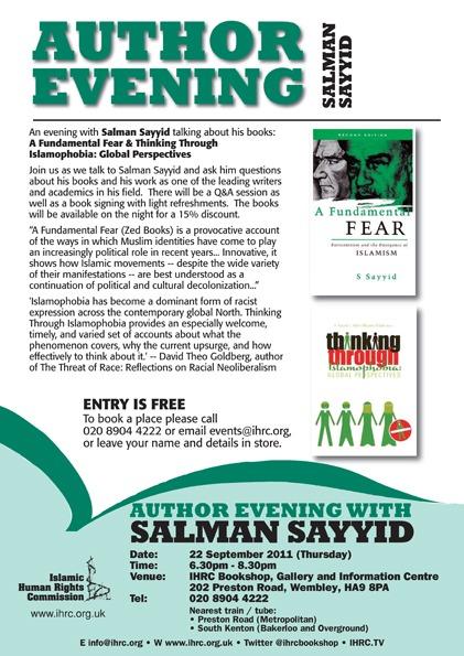 Author Evening with Salman Sayyid