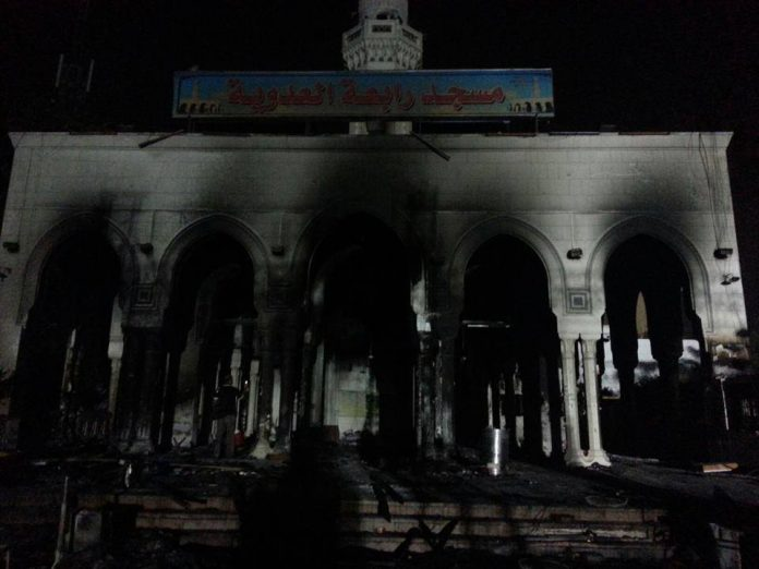 Burnt out mosque in Cairo, after police and army charged protestors, 14 August 2013