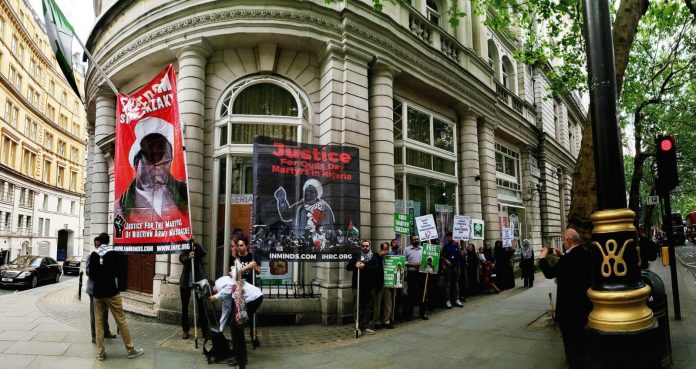 Demonstrators at the Nigerian High Commission, 9 July 2019